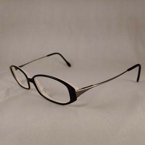 GENNY Rx Eyeglasses Black White Silver Plastic Rim